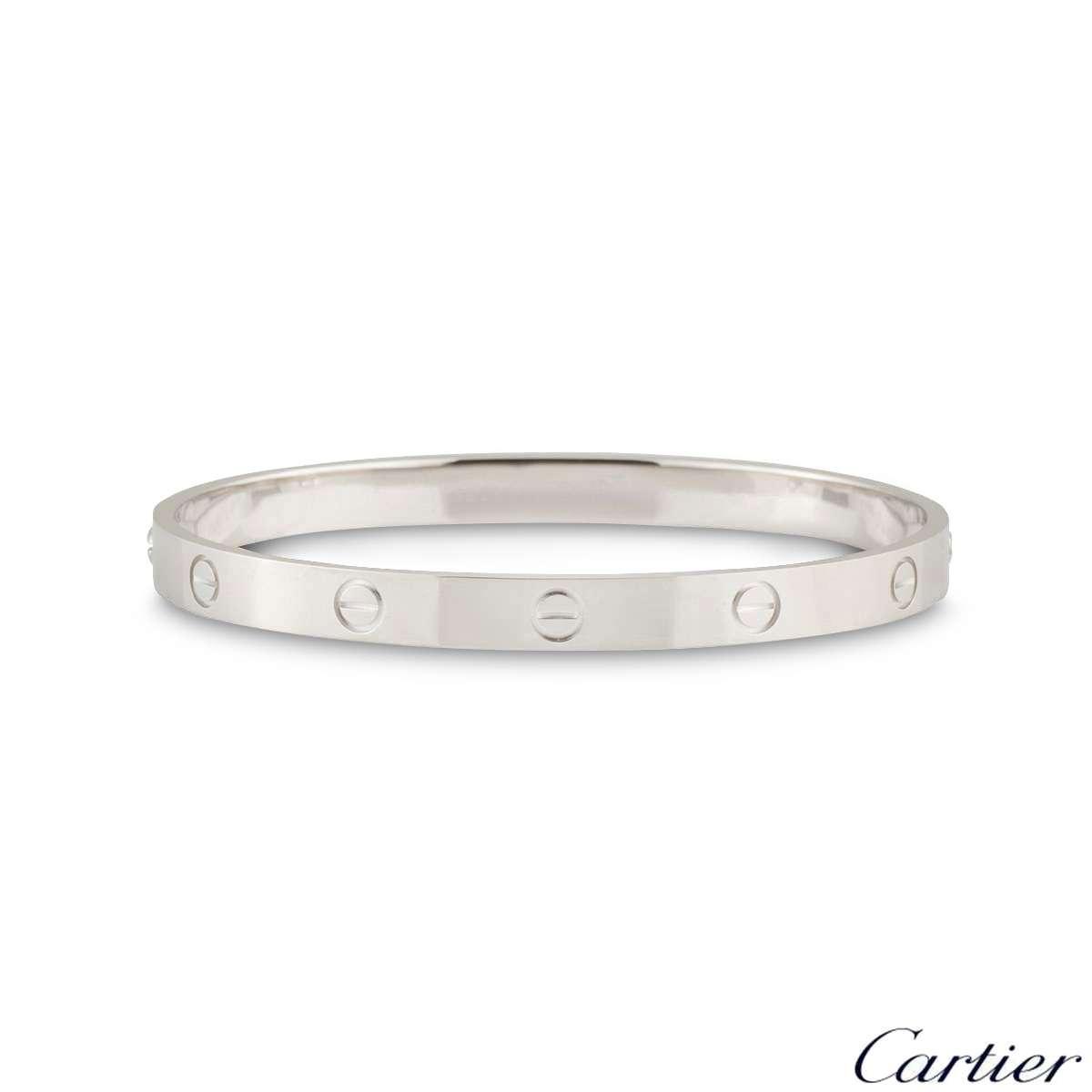 Cartier White Gold Plain Love Bracelet Size 20 B6035420